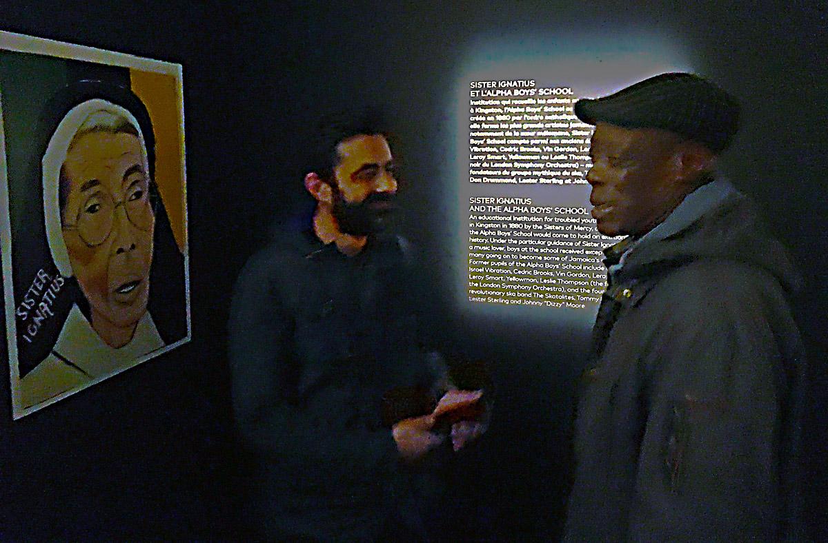 Jamaica Jamaica curator Sebastien Carayol and Alpha past student Vin Gordon at the Alpha Boys School section of the Jamaica Jamaica exhibition